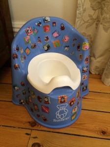 Lil G's decorated Baby Bjorn potty
