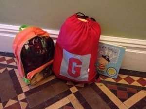 Bags packed for nursery, day 3 of Potty Training complete with Pirate Pete's Potty book