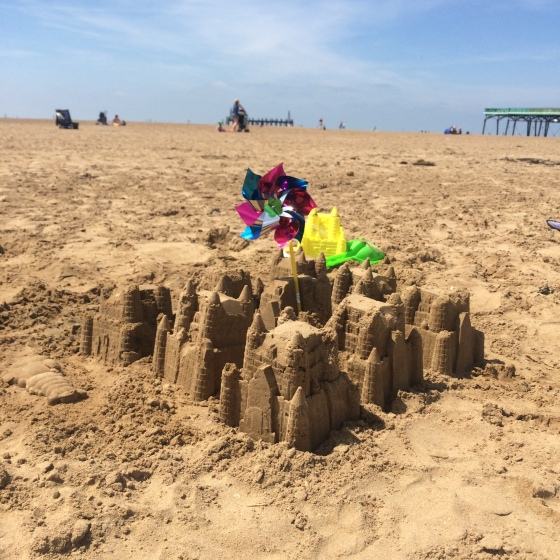 We recreated the sandcastle out of Lil G's favourite book 'Stick Man'