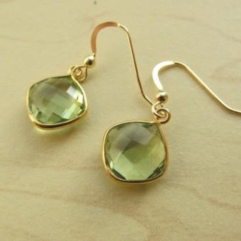 Green amethyst quartz gemstone earrings-340x340
