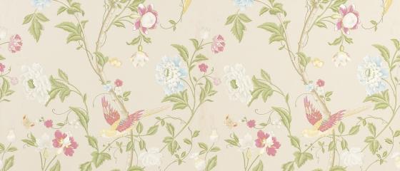 laura ashley wallpaper - summer palace linen floral wallpaper